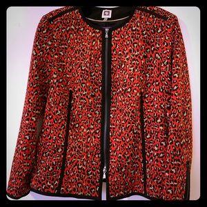 Anne Klein red leopard zippered blazer (16)